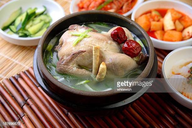 samgyetang - chicken soup stockfoto's en -beelden