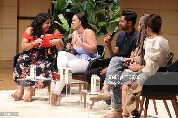 Samhita Mukhopadhyay Dascha Polanco Hasan Minhaj Amani AlKhatahtbeh and Francia Raisa speak onstage during Teen Vogue Summit 2018 #TurnUp Day 2 at...