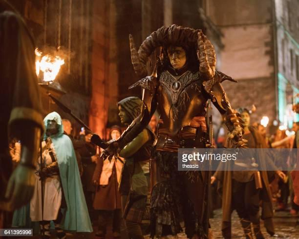 samhuinn fire festival at halloween in edinburgh - devil costume stock photos and pictures