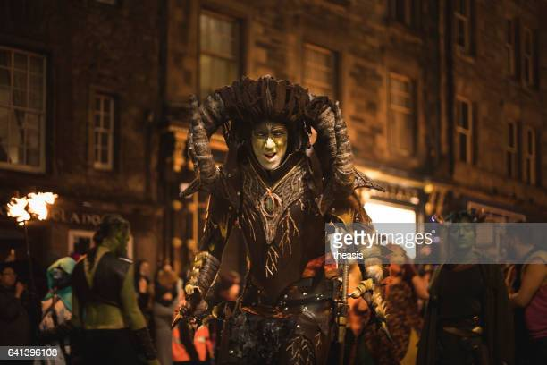 samhuinn fire festival at halloween in edinburgh - theasis stock pictures, royalty-free photos & images