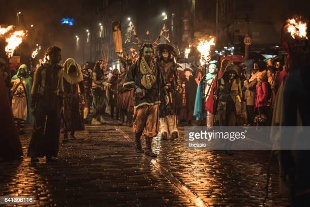 samhuinn 火エジンバラのハロウィン祭 - エジンバラ国際フェスティバル ストックフォトと画像