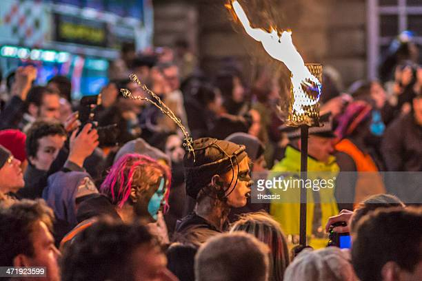 samhuinn fire festival, edinburgh - samhuinn stock photos and pictures
