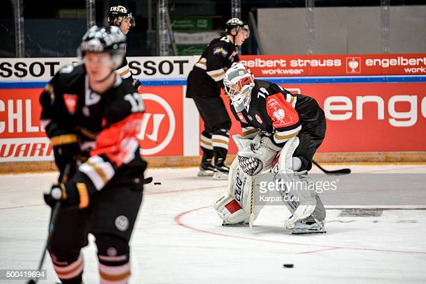 Sami Aittokallio of Karpat Oulu preparing for the game during the Champions Hockey League quarter final between Karpat Oulu and Espoo Blues at Oulun...