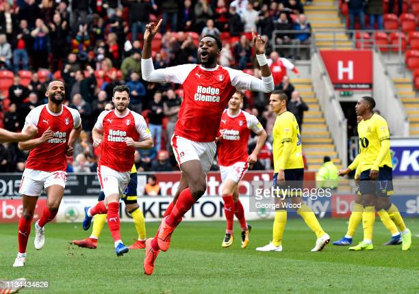 Sami Ajayi of Rotherham celebrates after scoring his team's first goal during the Sky Bet Championship match between Rotherham United and Blackburn...