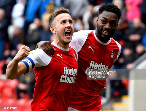 Sami Ajayi of Rotherham United celebrates after scoring his team's first goal with Will Vaulks of Rotherham United during the Sky Bet Championship...