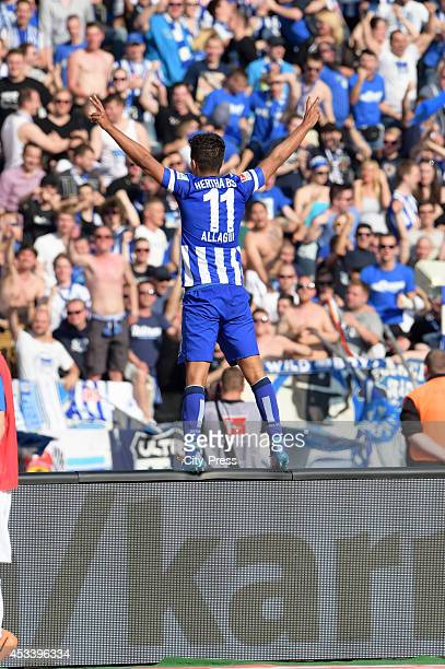 Sami Allagui celebrates his goal in front of the fans during the Bundesliga game between Hertha BSC and Borussia Dortmund on may 10 2014 in Berlin...