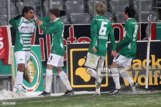 Sami Allagui celebrates the second goal with Nicolai Mueller of Fuerth Kim Falkenberg and Stephan Fuerstner of Fuerth during the DFB Cup quarter...