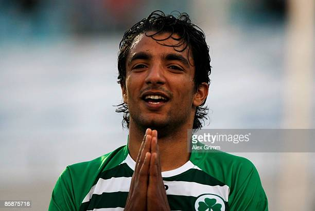 Sami Allagui of Greuther Fuerth reacts after referee Christian Bandurski cancelled his last minute goal scored from an offside position during the...