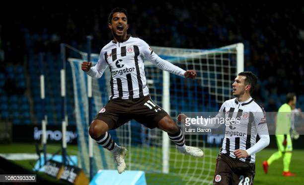 Sami Allagui of Pauli celebrates after scoring his teams first goal during the Second Bundesliga match between VfL Bochum 1848 and FC St Pauli at...
