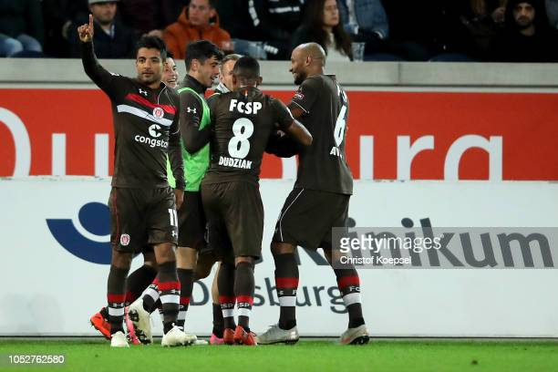 Sami Allagui of St Pauli celebrates after scorings his team's first goal during the Second Bundesliga match between MSV Duisburg and FC St Pauli at...