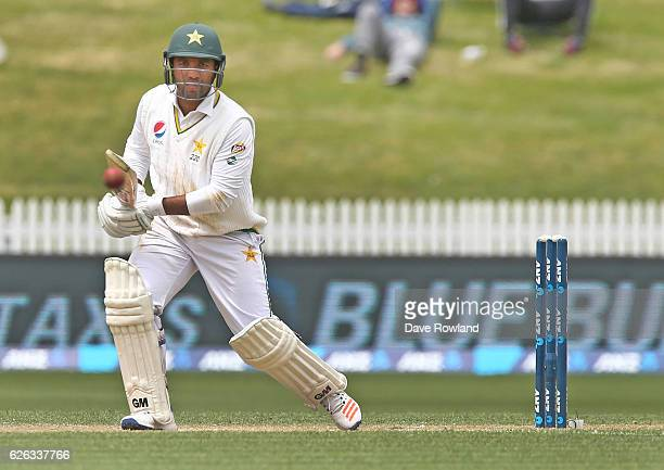 Sami Aslam of Pakistan bats during day five of the Second Test match between New Zealand and Pakistan at Seddon Park on November 29 2016 in Hamilton...