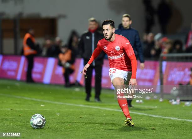 Sami Ben Amar of Nimes during Ligue 2 match between Nimes and AC Ajaccio at Stade des Costieres on February 2 2018 in Nimes France