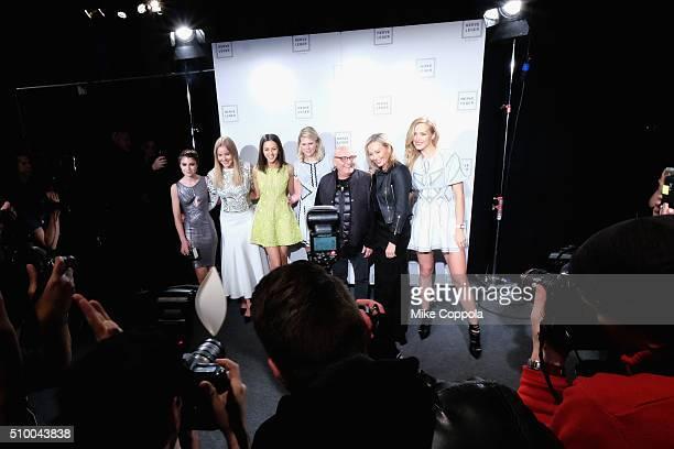 Sami Gayle Abbie Cornish Annet Mahendru Alexandra Richards Max Azria Lubov Azria and Petra Nemvoca pose backstage during Day 3 of New York Fashion...
