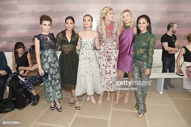 Sami Gayle Jamie Chung Jaime King Devon Windsor Rachel Hilbert and Carla Santana attend the Monique Lhuillier fashion show during New York Fashion...