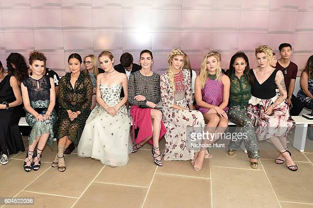 Sami Gayle Jamie Chung Jaime King Hilary Rhoda Devon Windsor Rachel Hilbert Carla Santana and Ireland Baldwin attend the Monique Lhuillier fashion...