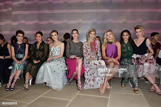 Sami Gayle Jamie Chung Skylar Samuels Hilary Rhoda Devon Windsor Rachel Hilbert Cara Santana and Ireland Baldwin attend the Monique Lhuillier Front...