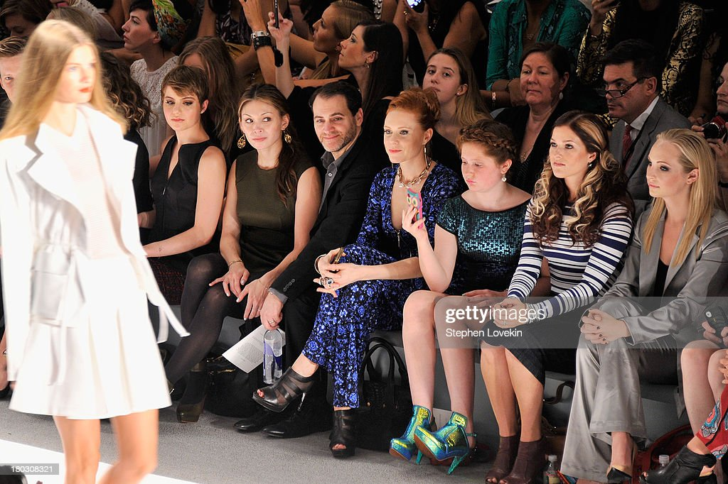 Sami Gayle, Mai-Linh Lofgren, Michael Stuhlbarg, Christiane Seidel, Emma Kenney and Candice Accola attend the Nanette Lepore fashion show during Mercedes-Benz Fashion Week Spring 2014 at The Stage at Lincoln Center on September 11, 2013 in New York City.