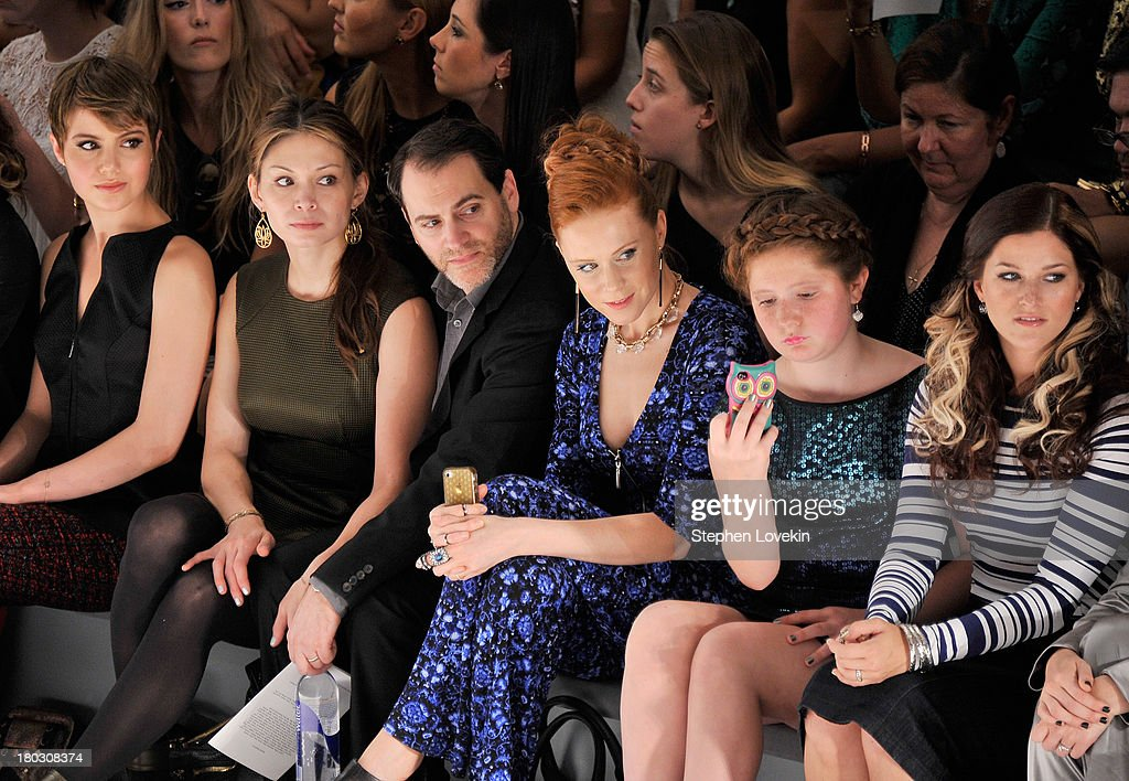 Sami Gayle, Mai-Linh Lofgren, Michael Stuhlbarg, Christiane Seidel, Emma Kenney and Cassadee Pope attend the Nanette Lepore fashion show during Mercedes-Benz Fashion Week Spring 2014 at The Stage at Lincoln Center on September 11, 2013 in New York City.