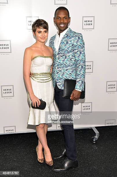 Sami Gayle poses backstage at the Herve Leger By Max Azria fashion show during MercedesBenz Fashion Week Spring 2015 at The Theatre at Lincoln Center...