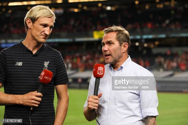 Sami Hyypia and Jason McAteer working for LFC TV during the PreSeason Friendly match between Sporting CP and Liverpool at Yankee Stadium on July 24...