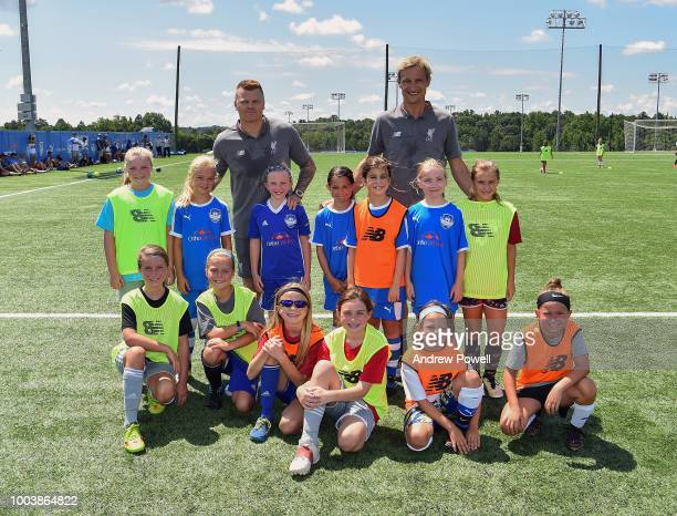 Sami Hyypia and John Arne Riise legends of Liverpool during a soccer clinic on July 22 2018 in Charlotte North Carolina