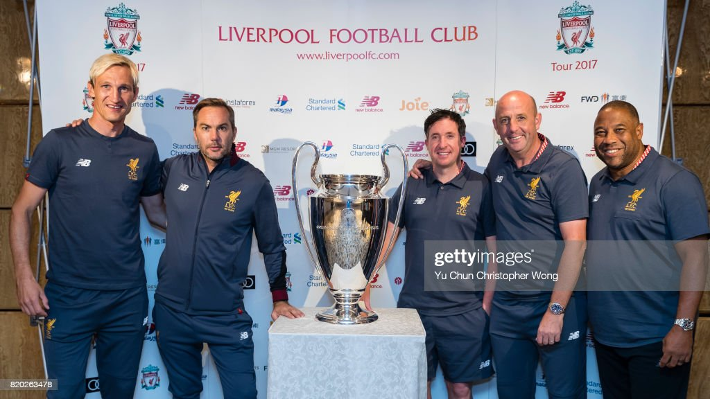 Sami Hyypia (L), Jason McAteer (L2), Robbie Fowler (R3), Gary McAllister (R2), and John Barnes (R) Legends of Liverpool pose for photo with the UEFA Champions League trophy in front during a Liverpool FC Meet & Greet at Ritz Carlton hotel on July 21, 2017 in Hong Kong, Hong Kong.