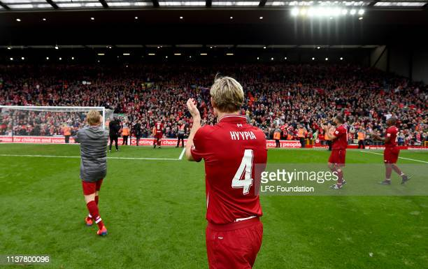 Sami Hyypia of Liverpool FC Legends showing his appreciation to the fans at the end of the friendly match between Liverpool FC Legends and AC Milan...