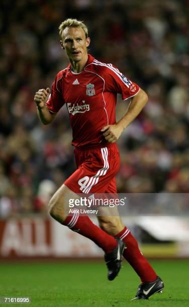 Sami Hyypia of Liverpool in action during the UEFA Champions League third qualifying round 1st leg match between Liverpool and Maccabi Haifa at...
