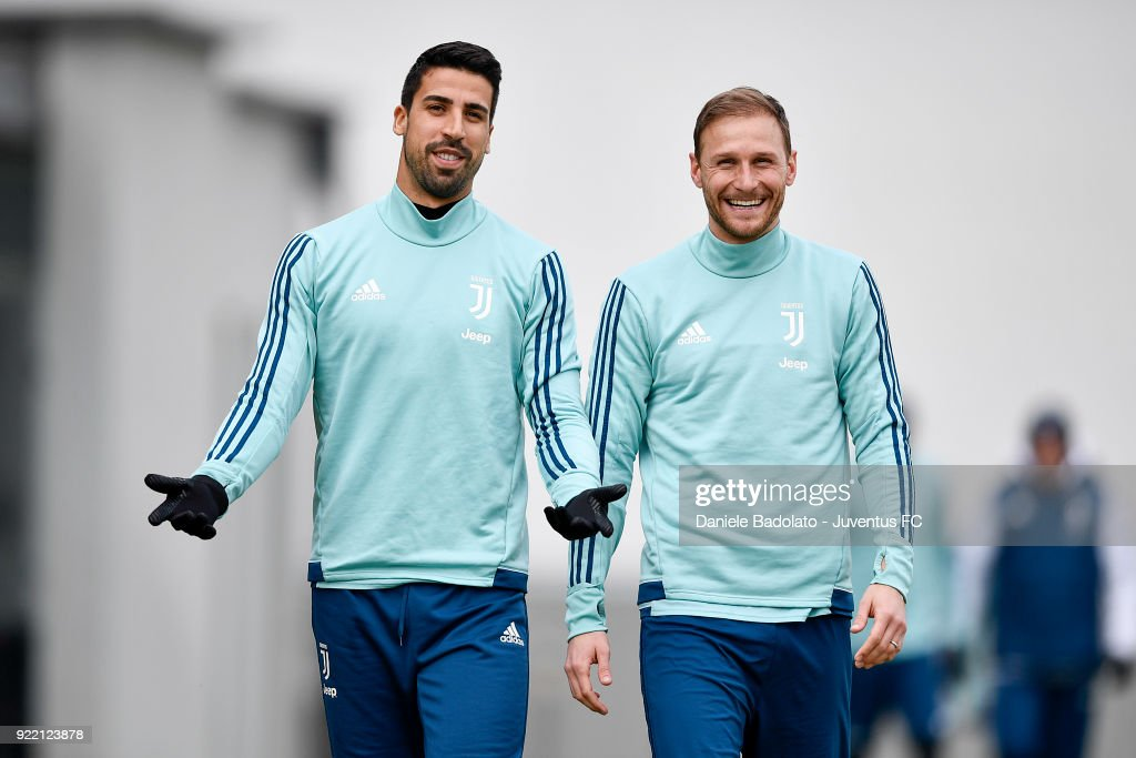 Sami Khedira and Benedikt Howedes at Juventus Center Vinovo on February 21, 2018 in Vinovo, Italy.