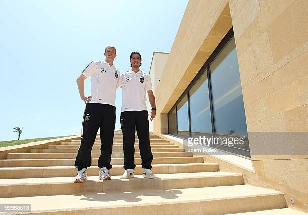 Sami Khedira and Manuel Neuer of Germany are pictured during a press conference at Verdura Golf and Spa Resort on May 19 2010 in Sciacca Italy