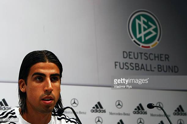 Sami Khedira attends the German Football National Team press conference at the Guerzenich Koeln on September 2 2009 in Cologne Germany