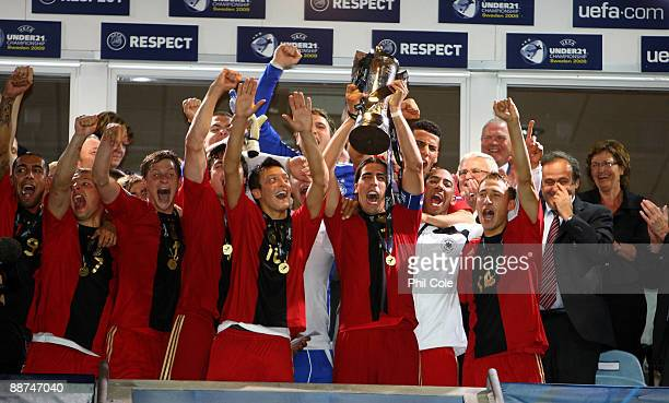 Sami Khedira Captain of Germany holds aloft the European Championships Trophy after beating England at the UEFA U21 European Championships Final...