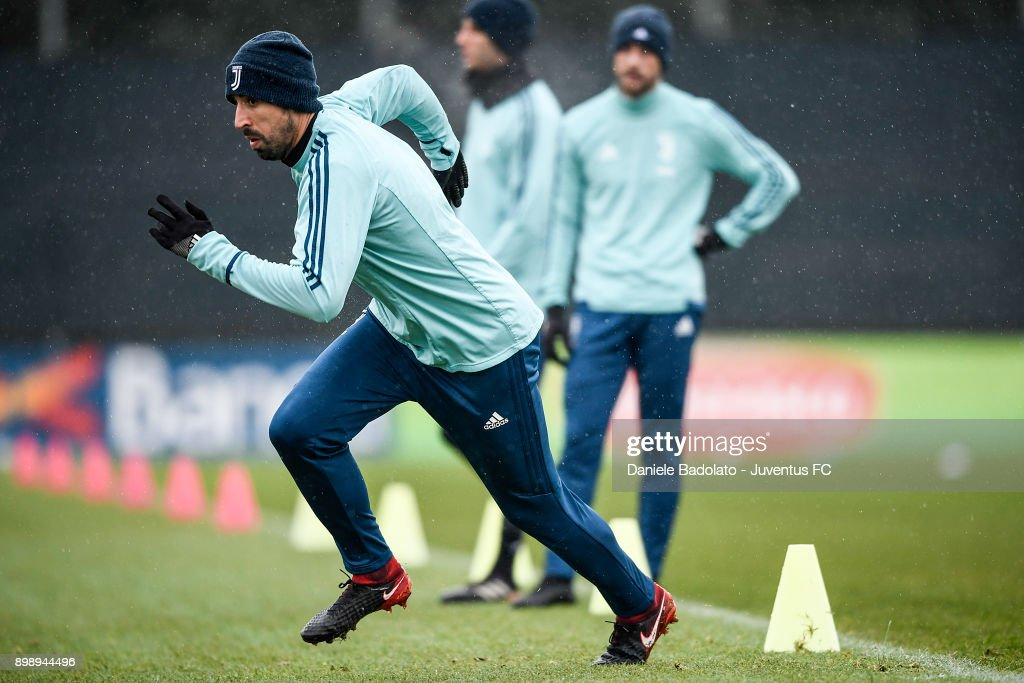 Sami Khedira during a Juventus Training Session at Juventus Center Vinovo on December 27, 2017 in Vinovo, Italy.
