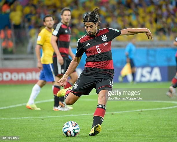 Sami Khedira in action for Germany during the 2014 FIFA World Cup Brazil Semi Final match between Brazil and Germany at Estadio Mineirao on July 8...
