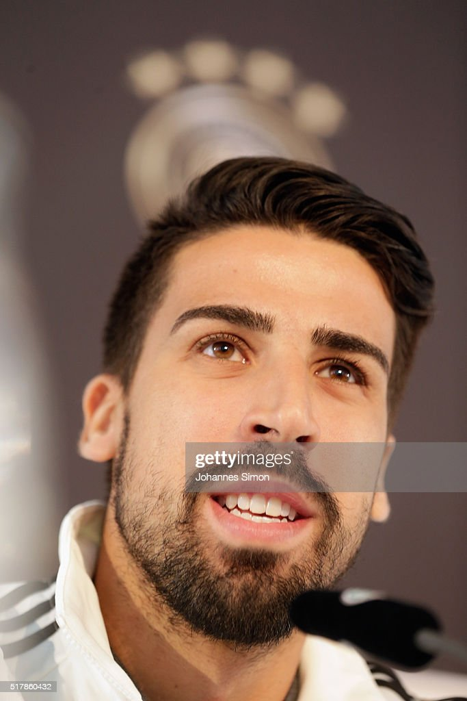 Sami Khedira of Germany addresses the media during a press conference ahead of the international friendly match between Germany and Italy at Mercedes Benz Center Muenchen on March 28, 2016 in Munich, Germany.