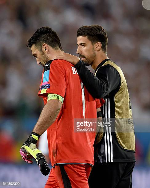 Sami Khedira of Germany and Gianluigi Buffon of Italy at the end of the UEFA Euro 2016 quarter final match between Germany and Italy at Stade Matmut...