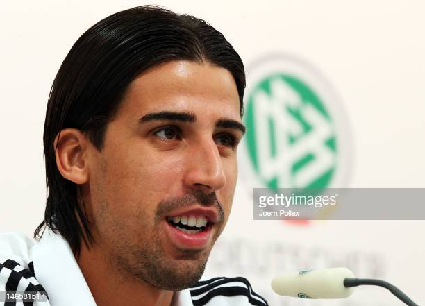 Sami Khedira of Germany attends a press conference ahead of their UEFA EURO 2012 Quarterfinal match against Greece at the Germany press centre on...