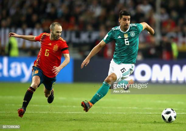 Sami Khedira of Germany battles for possesion with Andreas Iniesta of Spain during the International friendly match between Germany and Spain at...