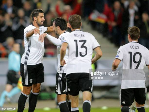 Sami Khedira of Germany celebrates his goal with teammates during the FIFA 2018 World Cup Qualifier between Germany and Northern Ireland at HDIArena...