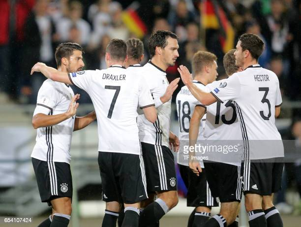 Sami Khedira of Germany celebrates his goal with teammates during the FIFA 2018 World Cup Qualifier between Germany and Northern Ireland at HDI-Arena...