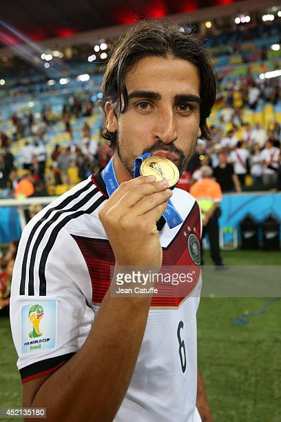Sami Khedira of Germany celebrates the victory after the 2014 FIFA World Cup Brazil Final match between Germany and Argentina at Estadio Maracana on...