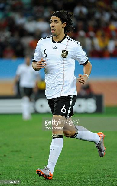 Sami Khedira of Germany during the 2010 FIFA World Cup South Africa Semi Final match between Germany and Spain at Durban Stadium on July 7, 2010 in...