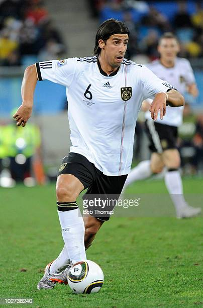 Sami Khedira of Germany during the 2010 FIFA World Cup South Africa Semi Final match between Germany and Spain at Durban Stadium on July 7 2010 in...