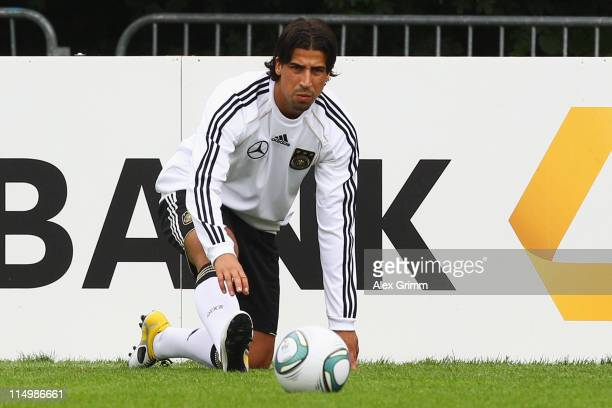Sami Khedira of Germany exercises during a training session ahead of their UEFA EURO 2012 qualifier against Austria on June 1, 2011 in Frankfurt am...