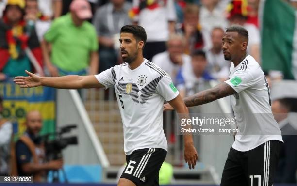 Sami Khedira of Germany Jerome Boateng of Germany during the 2018 FIFA World Cup Russia group F match between Germany and Mexico at Luzhniki Stadium...