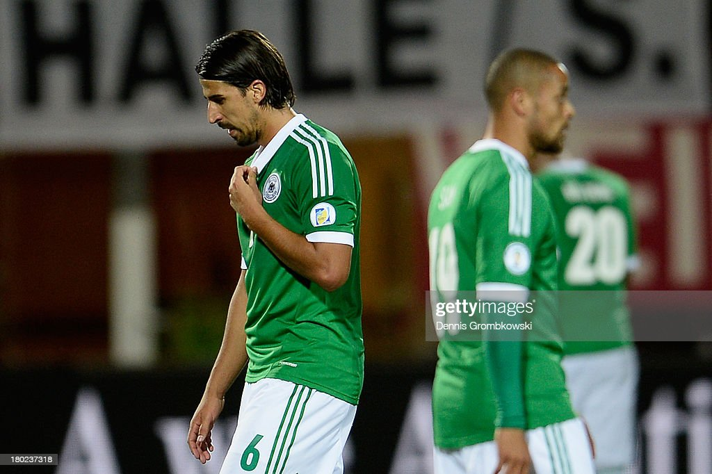 Sami Khedira of Germany reacts after the FIFA 2014 World Cup Qualifier match between Faeroe Islands and Germany on September 10, 2013 in Torshavn, Denmark.