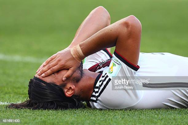 Sami Khedira of Germany reacts during the 2014 FIFA World Cup Brazil Quarter Final match between France and Germany at Maracana on July 4 2014 in Rio...
