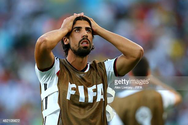 Sami Khedira of Germany reacts during the 2014 FIFA World Cup Brazil Final match between Germany and Argentina at Maracana on July 13 2014 in Rio de...