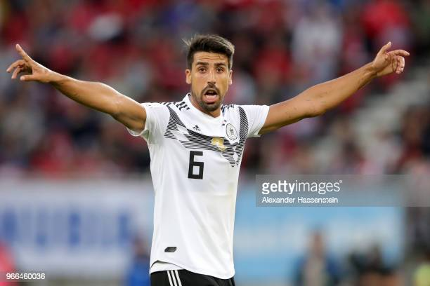 Sami Khedira of Germany reacts during the International Friendly match between Austria and Germany at Woerthersee Stadion on June 2 2018 in...