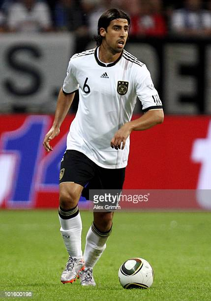 Sami Khedira of Germany runs with the ball during the international friendly match between Germany and BosniaHerzegovina at Commerzbank Arena on June...